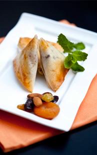 Briouates au filet et foie de lapin, fruits secs et cannelle Loeul et Piriot
