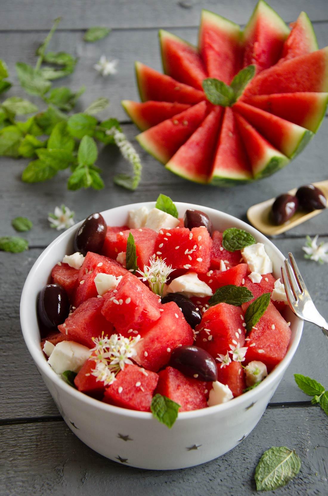 Salade de pastèque feta et menthe