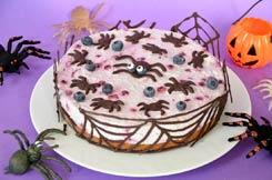 cheesecake aux myrtilles et aux toiles d'araignées