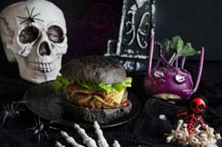 pain noir à hamburger recette Halloween