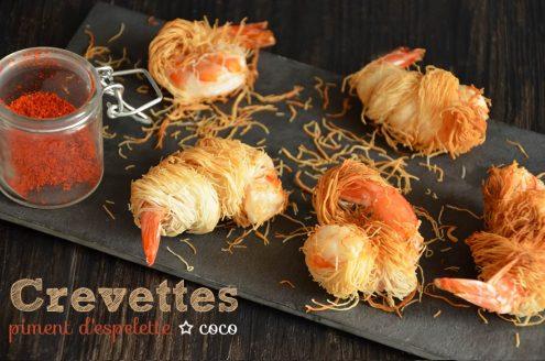 crevettes kadaïf coco piment d'espelette