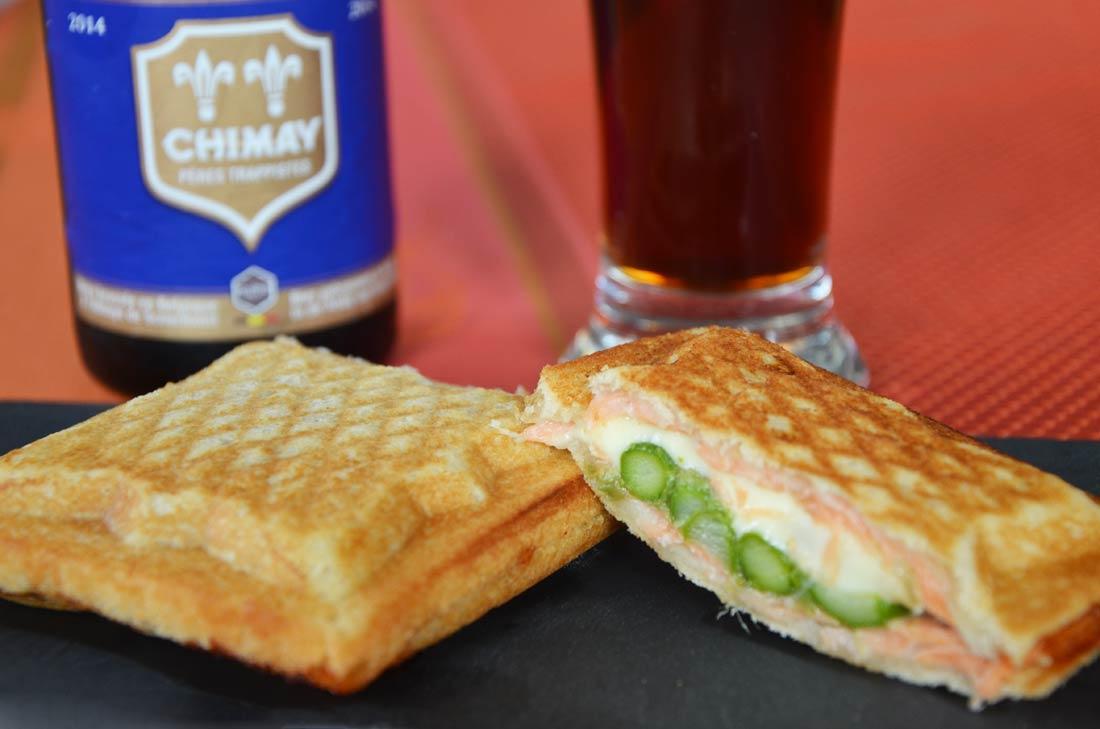 croque monsieur saumon fromage à la chimay bleue asperges