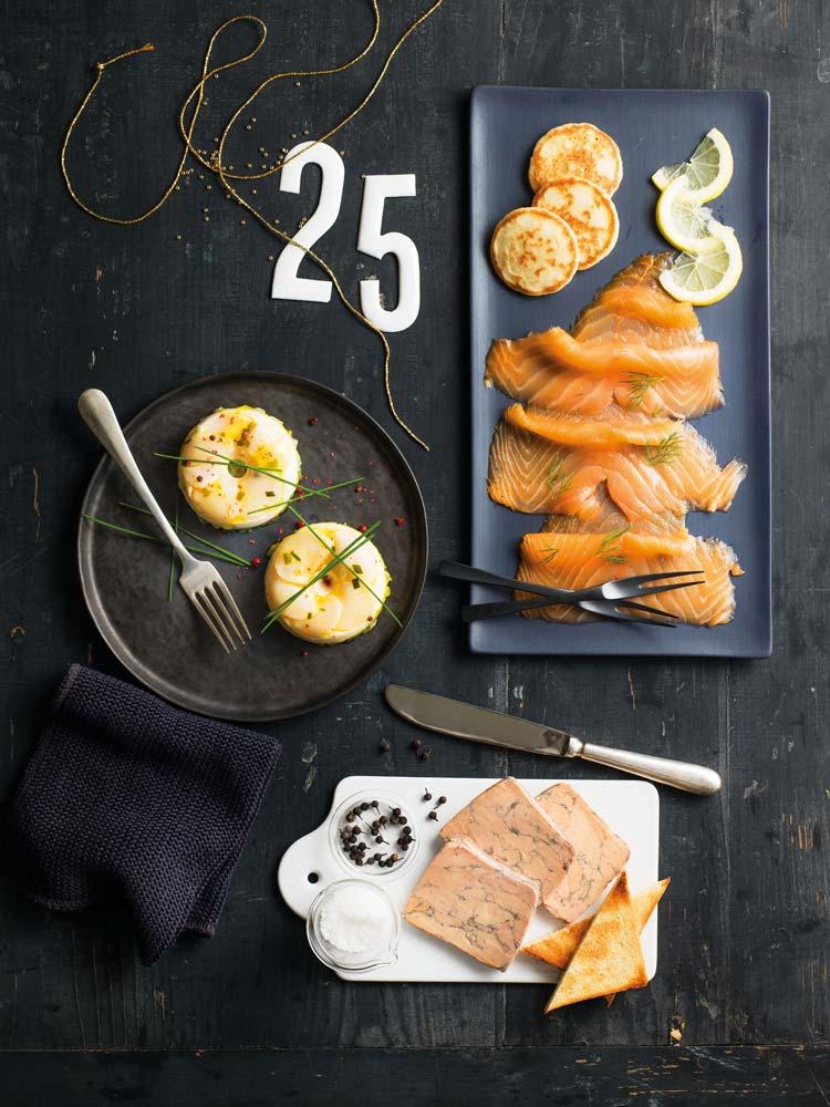 Picard Noël 2014 : duos de saint-jacques saumon fumé bio foie gras de canard