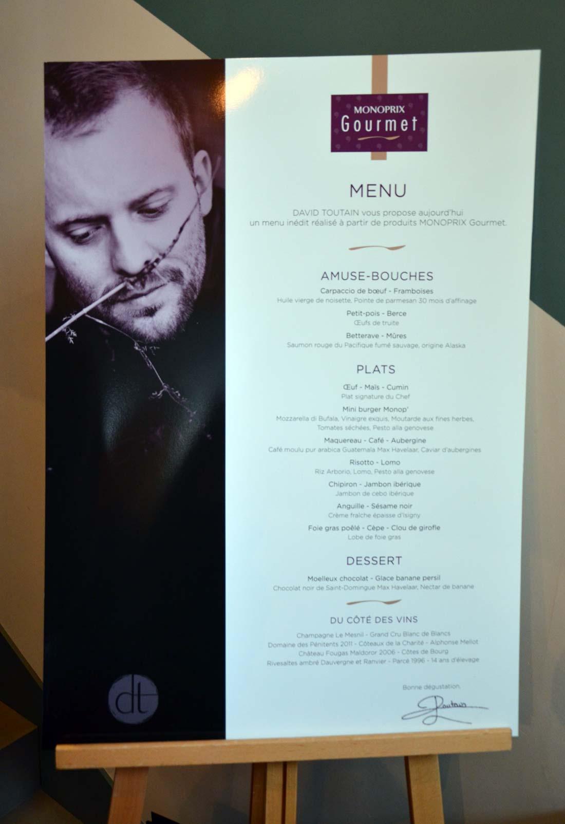 menu David Toutain pour Monoprix Gourmet