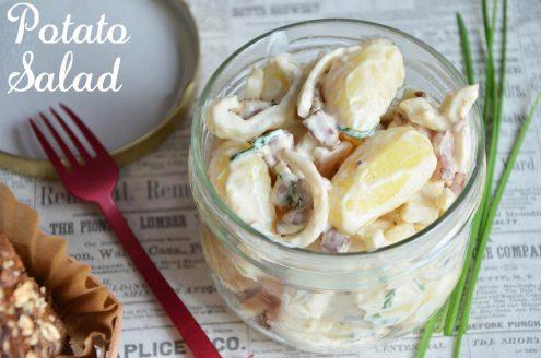 salade de pommes de terre ou potato salad dans un verre