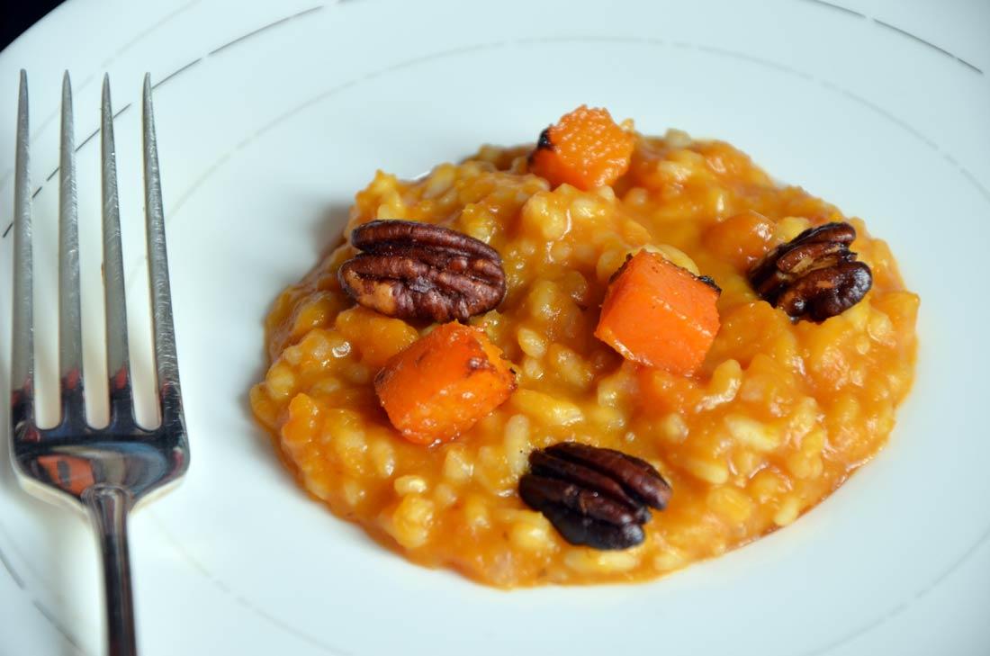 risotto à la courge butternut caramélisée au sirop d'érable
