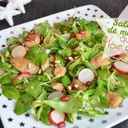 Salade tiède de mâche au foie gras poêlé et grenade