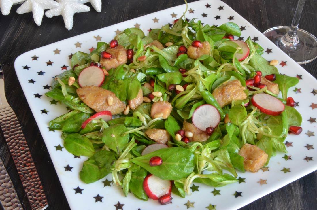 salade tiède de mâche au foie gras