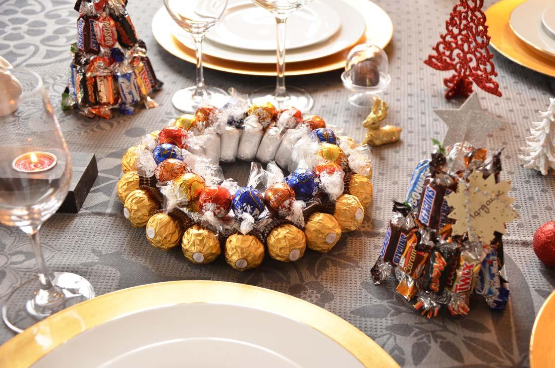 centre de table et marque places en chocolat