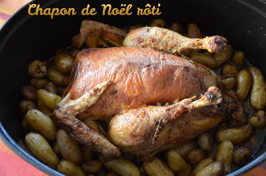 Chapon de Noël rôti, champignons et marrons