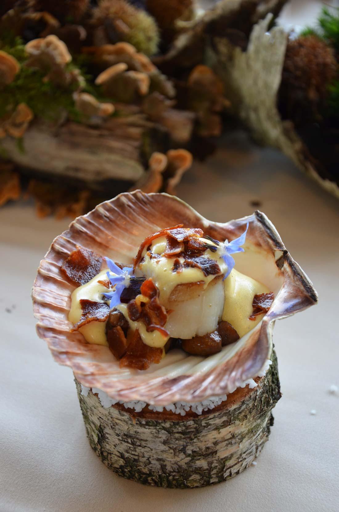Noix de Saint-Jacques, cèpes et sabayon au lard