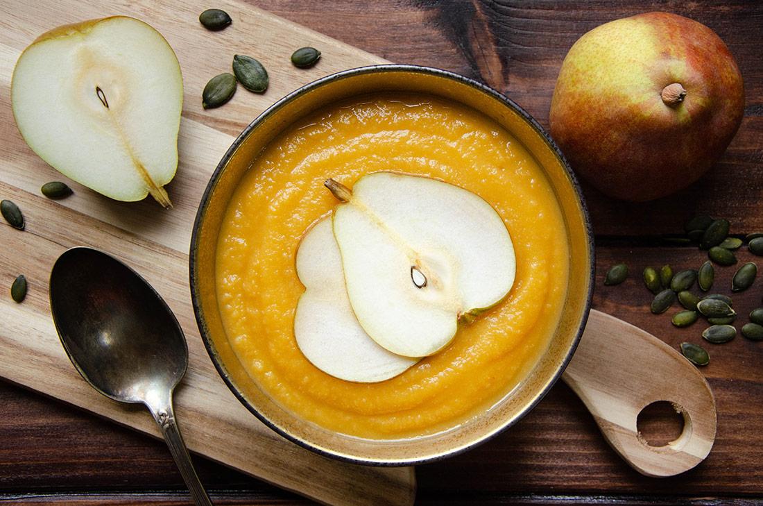 Soupe patate douce panais poire