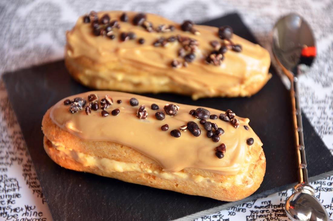 mini éclairs surprise caramel et dulcey