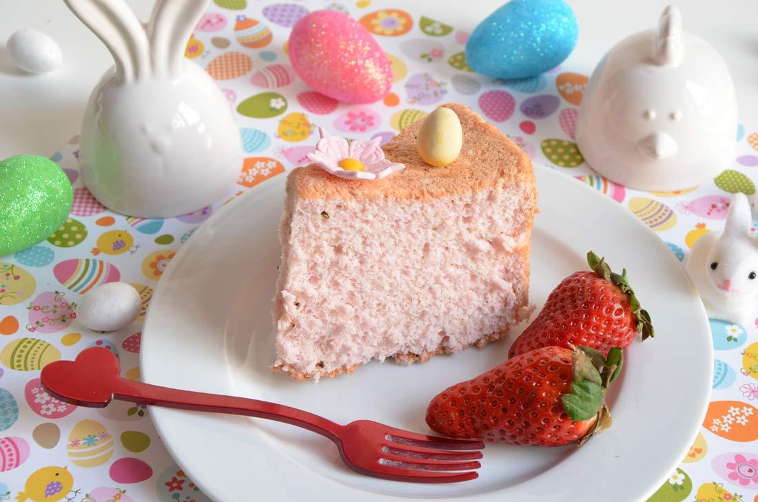 Angel cake rose pour Pâques
