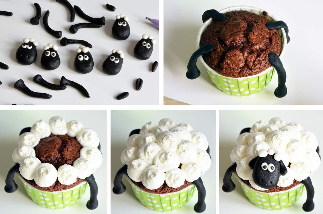 pas à pas cupcakes Shaun le mouton