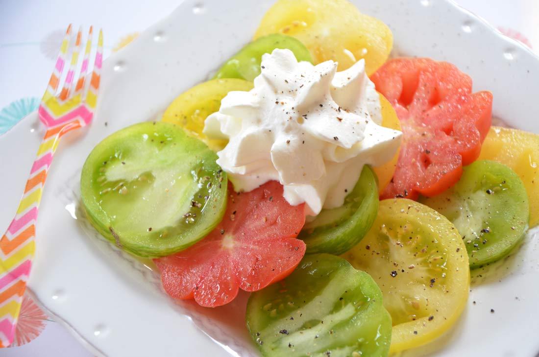 palette de tomates et chantilly fromage frais