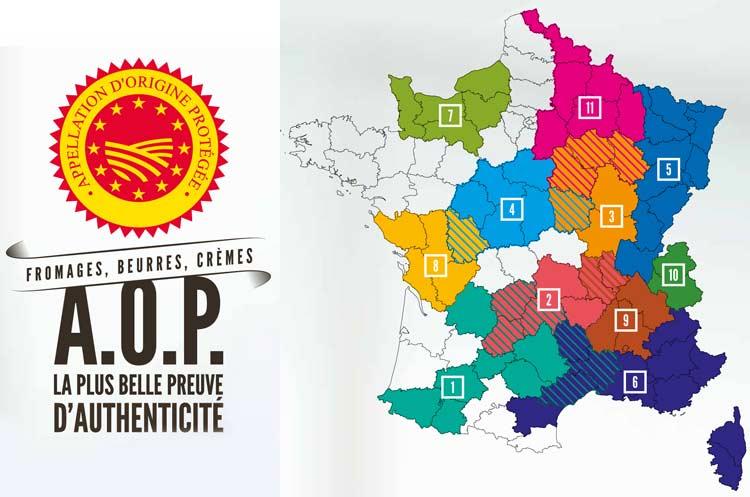 fromages AOP par régions