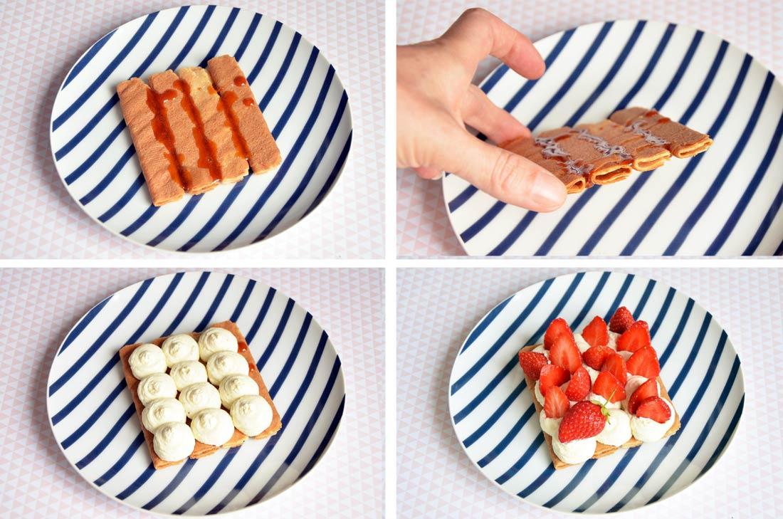 pas à pas Tarte aux fraises et aux crêpes dentelle