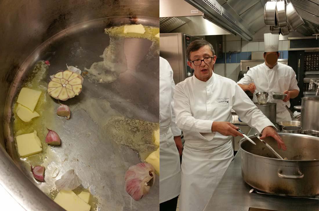 Laurent André en action dans les cuisines du Royal Monceau