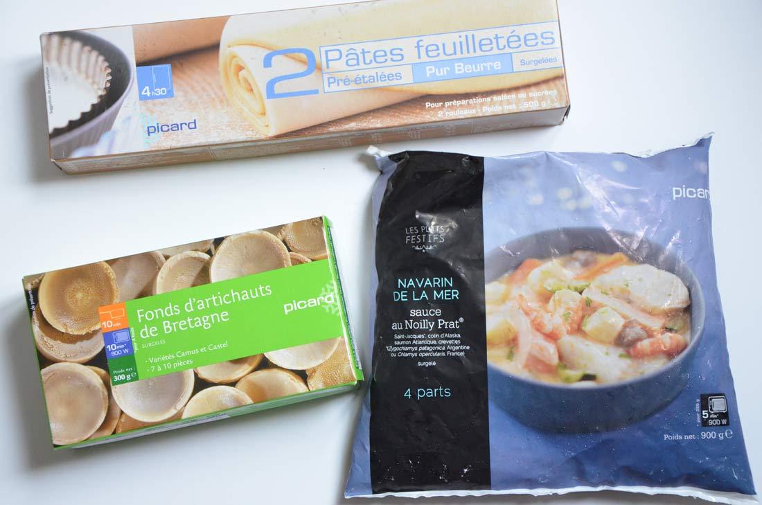 ingrédients feuilletés artichauts fruits de mer