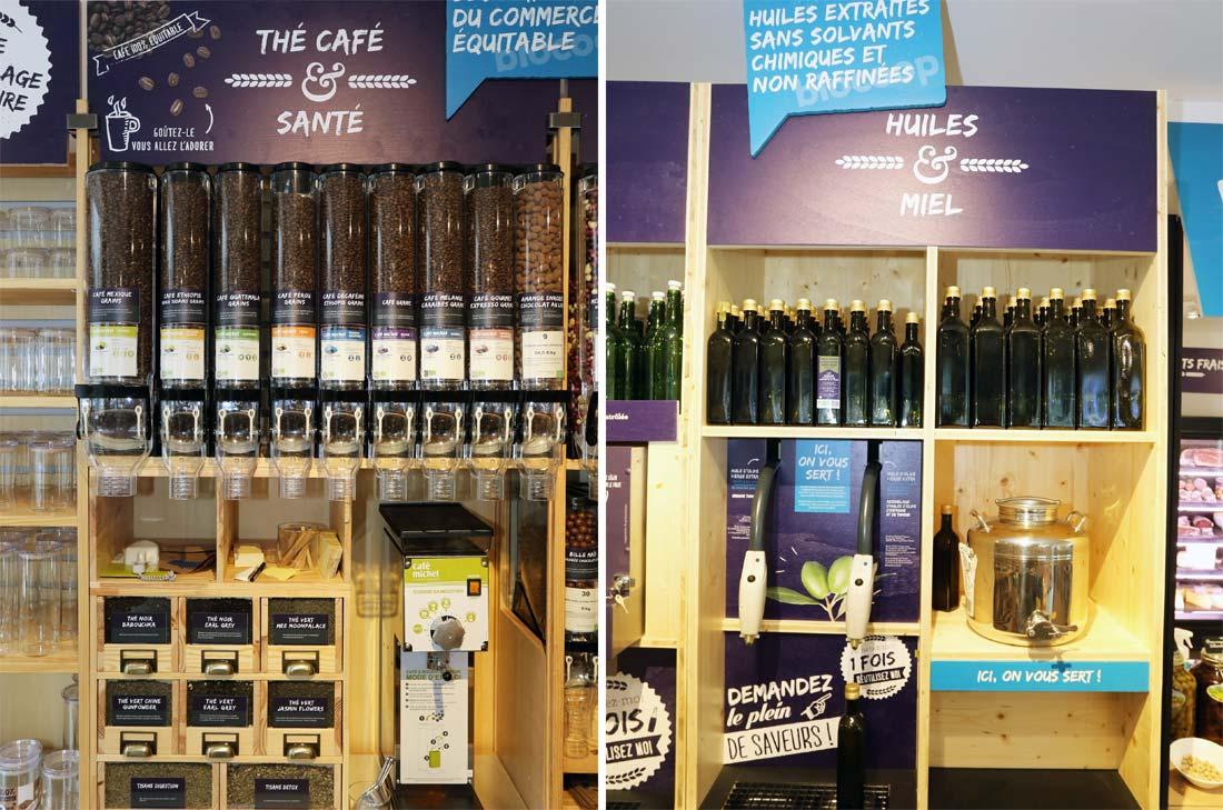 thé, café, huiles et miel vendus en vrac au Biocoop 21