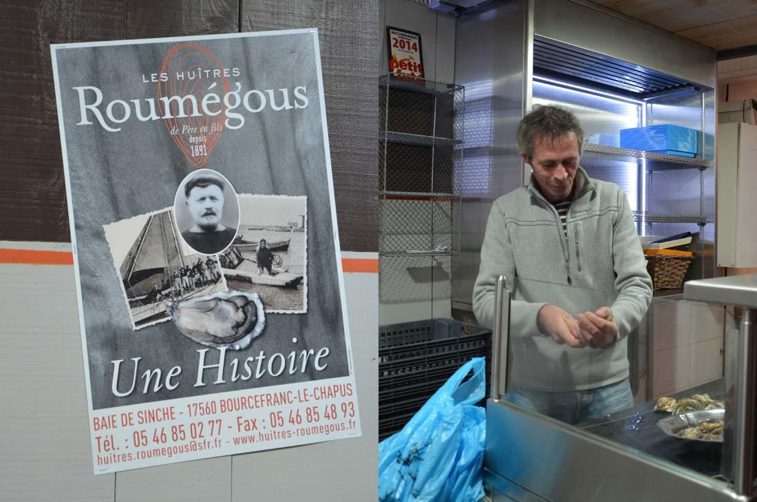 Huitres Roumegous au marché de la Rochelle en Charente Maritime