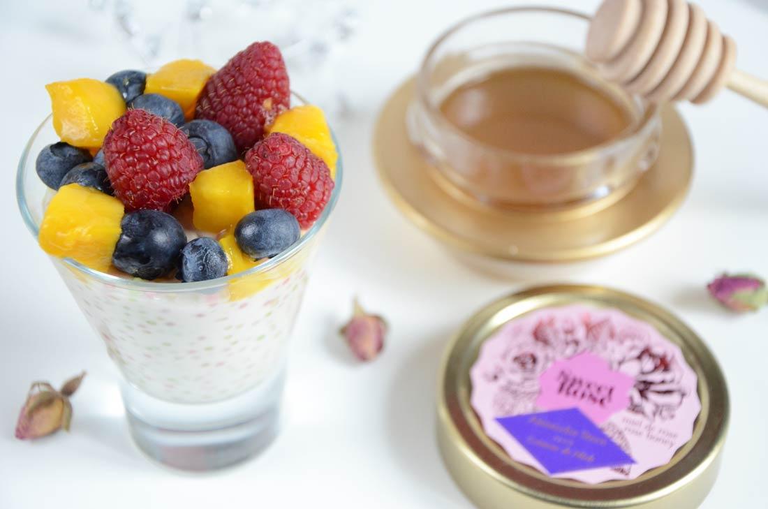 Perles du Japon au lait de coco, sirop de rose