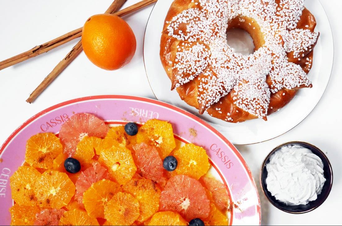 délicieuse et légère salade d'oranges à la cannelle et crème coco