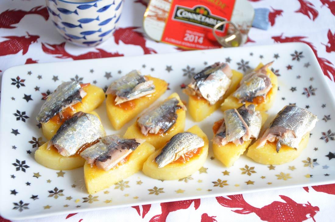 savoureux palets de polenta et sardines de garde