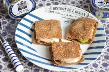 Croque galette poireaux pâté Hénaff