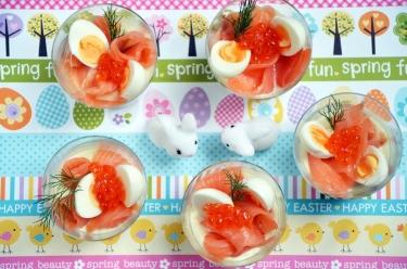 verrines oeufs de caille et saumon