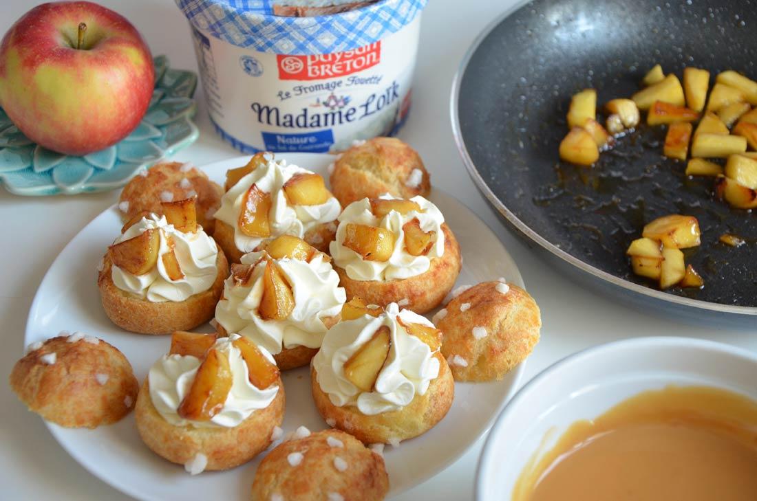 chouquettes pommes caramel sucrées salées au fromage fouetté Madame Loïk