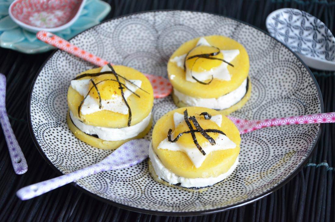 Croque polenta feta oeufs de caille