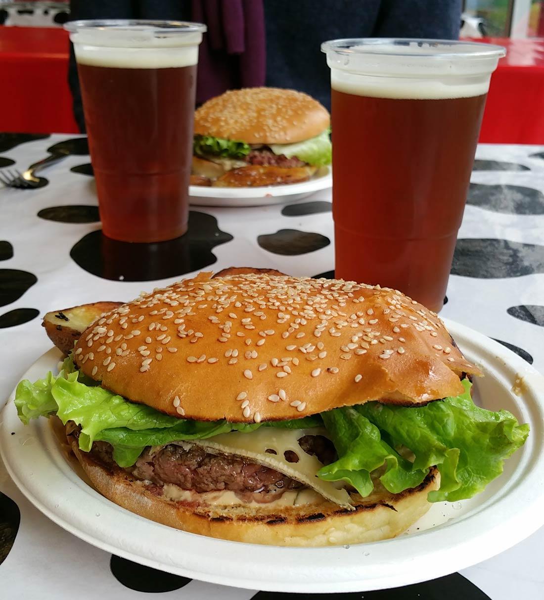 Bière Eurelienne et burger de la Ferme du Roseix