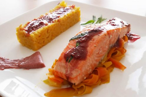 saumon sauce framboise tagliatelles de carottes