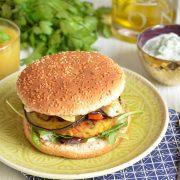 Hamburger végétal halloumi aubergines