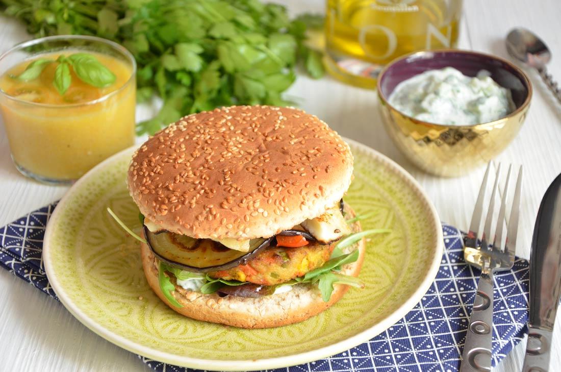 recette Le Bon Végétal Herta : Hamburger végétal halloumi aubergines