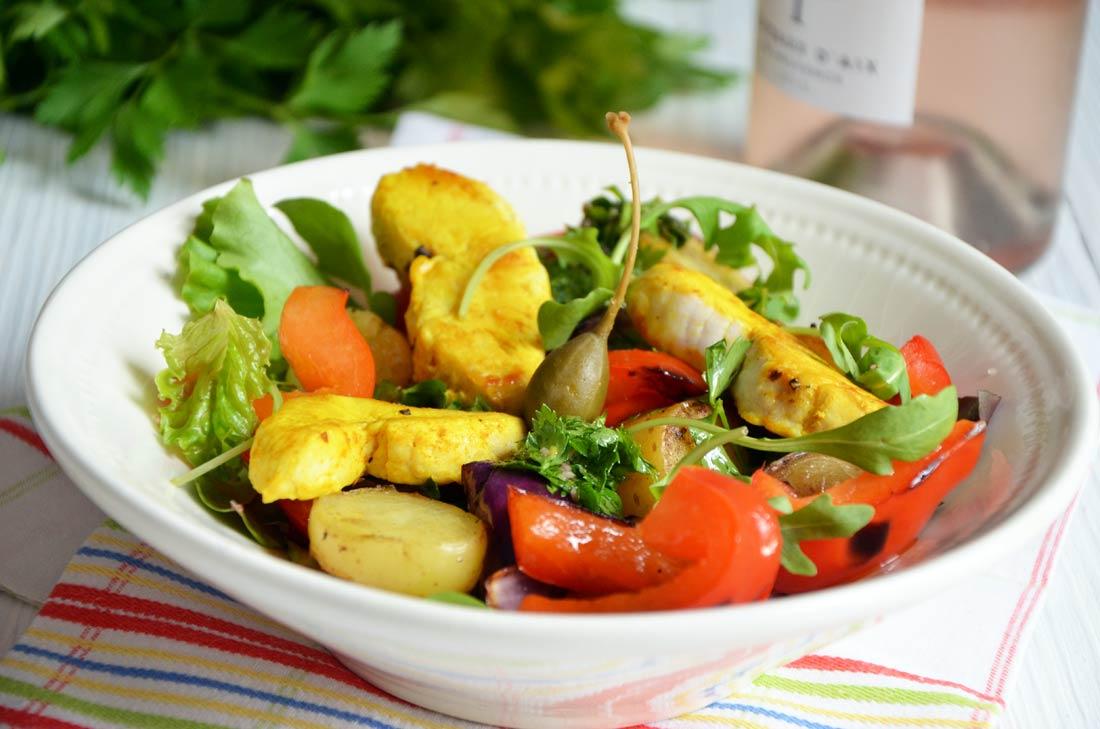 salade poulet poivrons oignons rouge