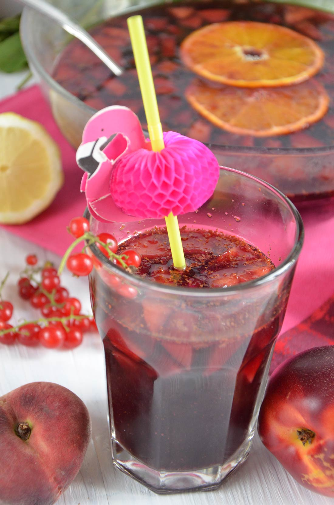 Sangria rouge pêches nectarines