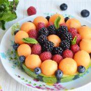 Tarte pastèque melon et fruits rouges