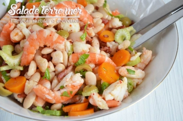 Salade terre mer haricots tarbais crevettes
