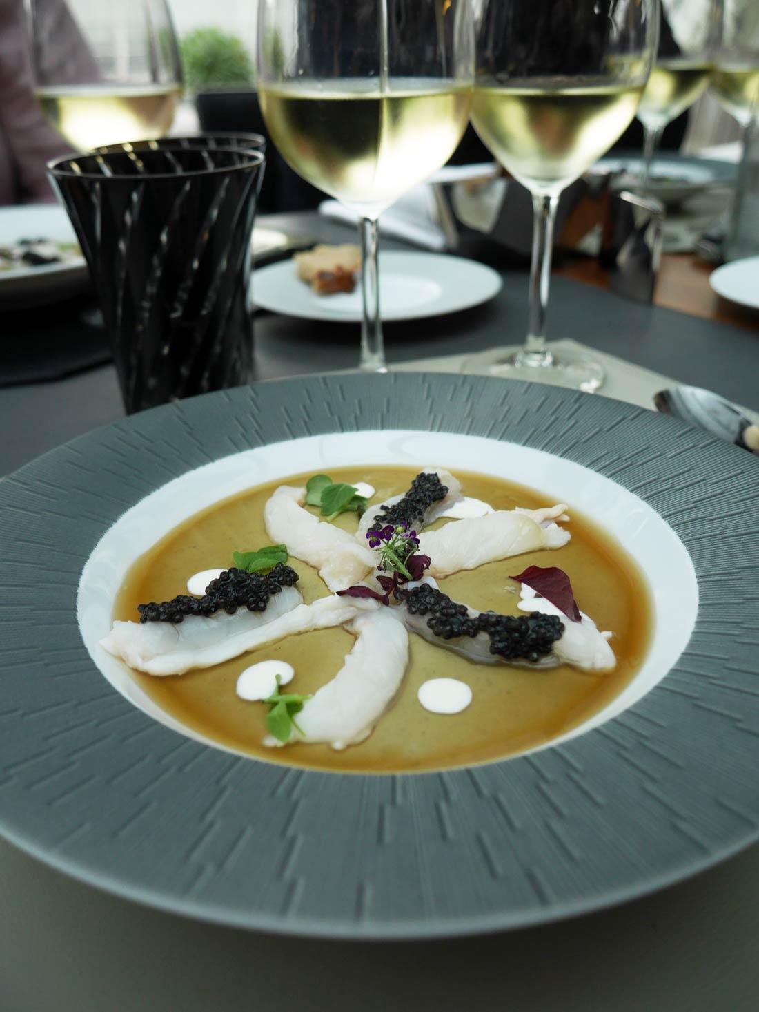 crème de lentilles du Puy caviar Prunier