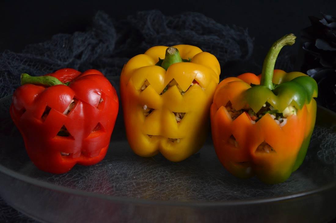 poivrons farcis d'Halloween