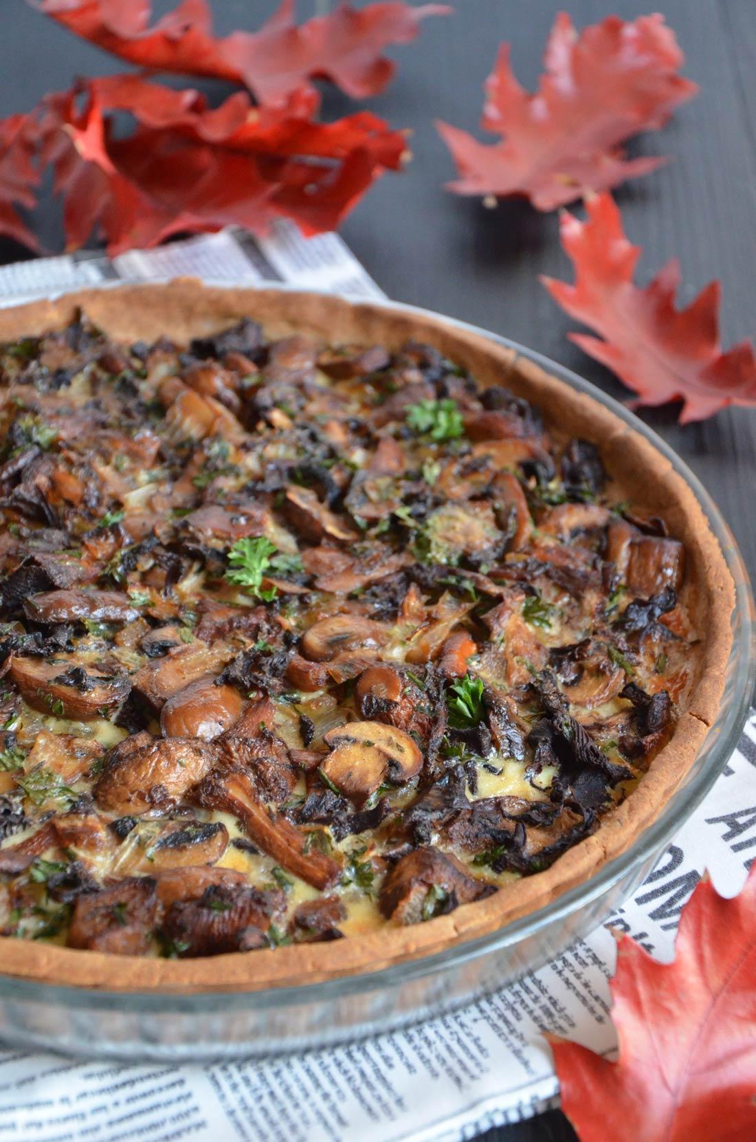 tarte aux champignons farine de châtaigne