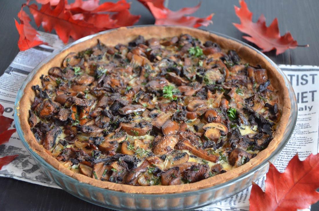Tarte aux champignons la farine de ch taigne - Comment cuisiner les trompettes de la mort champignons ...