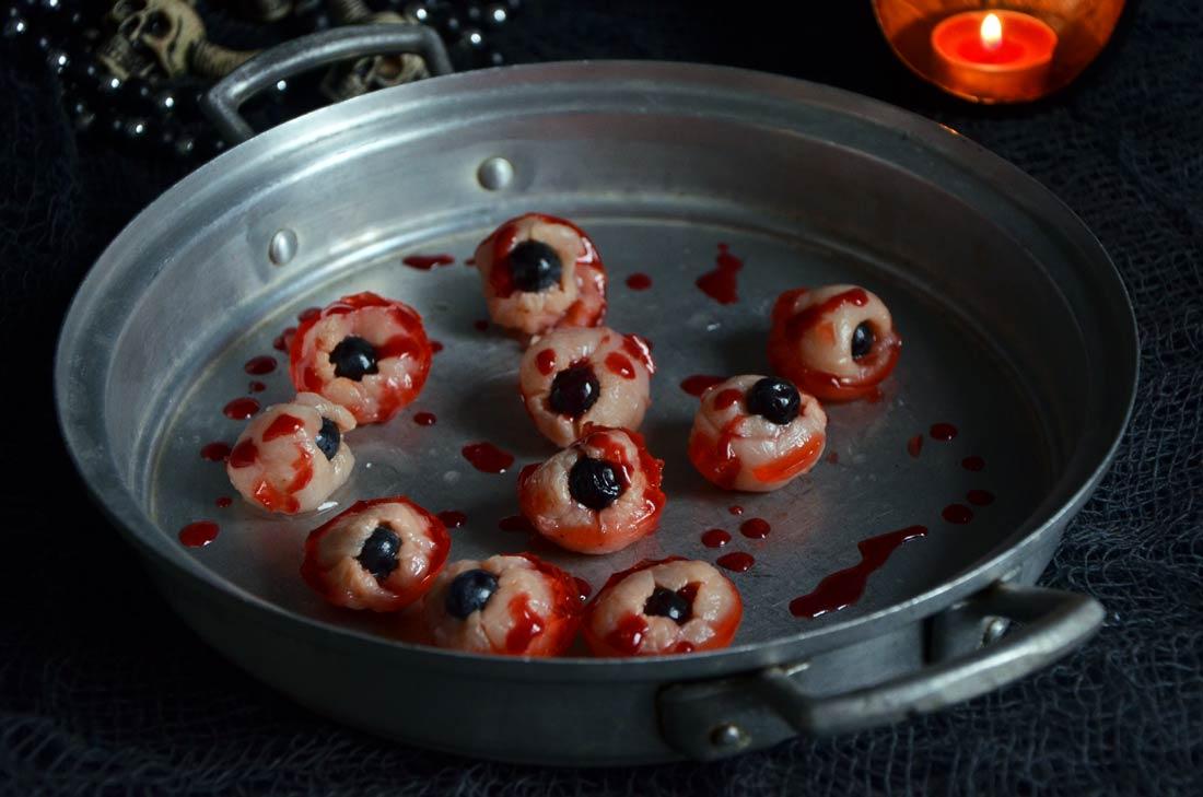 Yeux de zombie rose litchi pour fêter Halloween façon Walking Dead