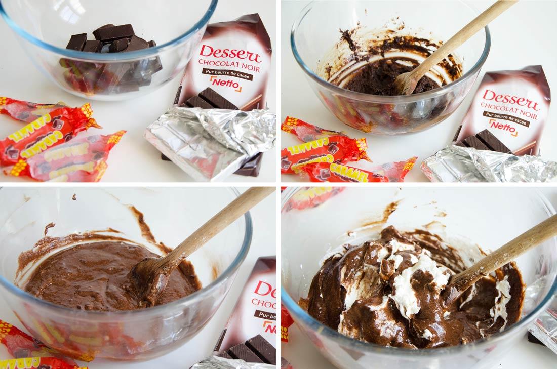 pas à pas brioche et mousse chocolat caramel maison