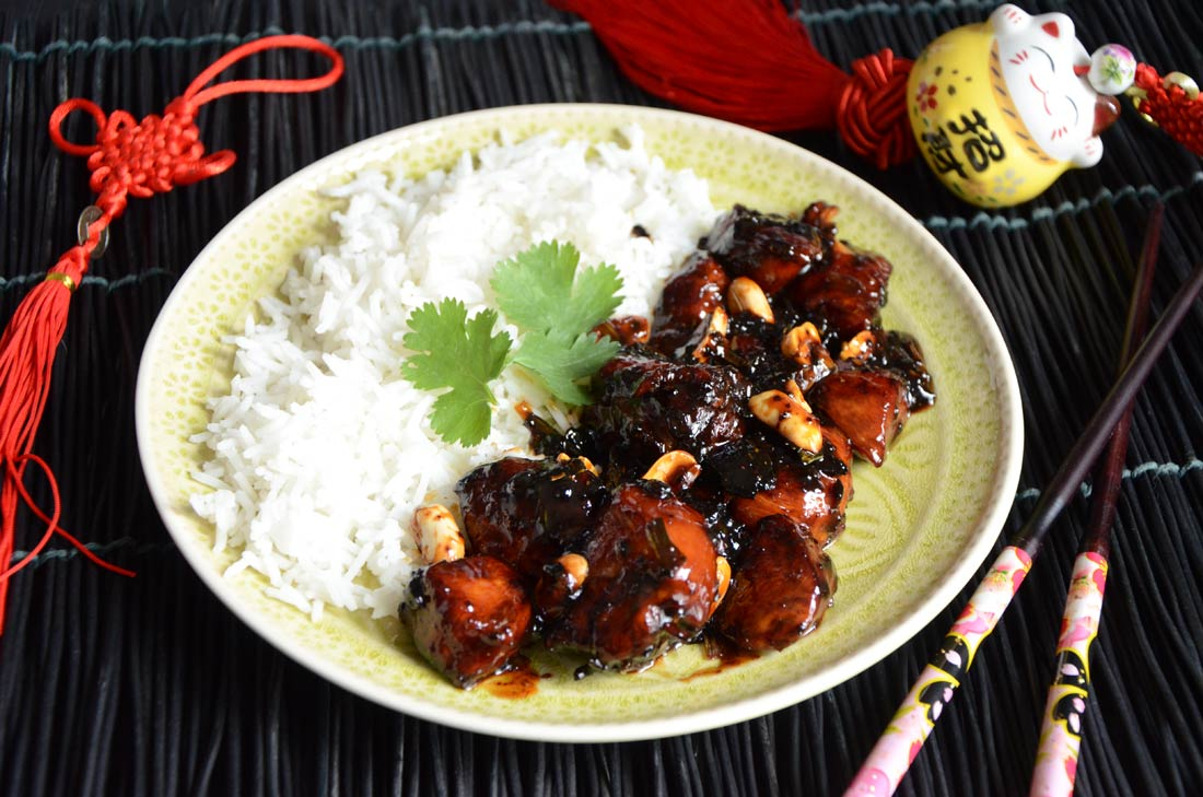 Poulet kung pao pour le nouvel an chinois