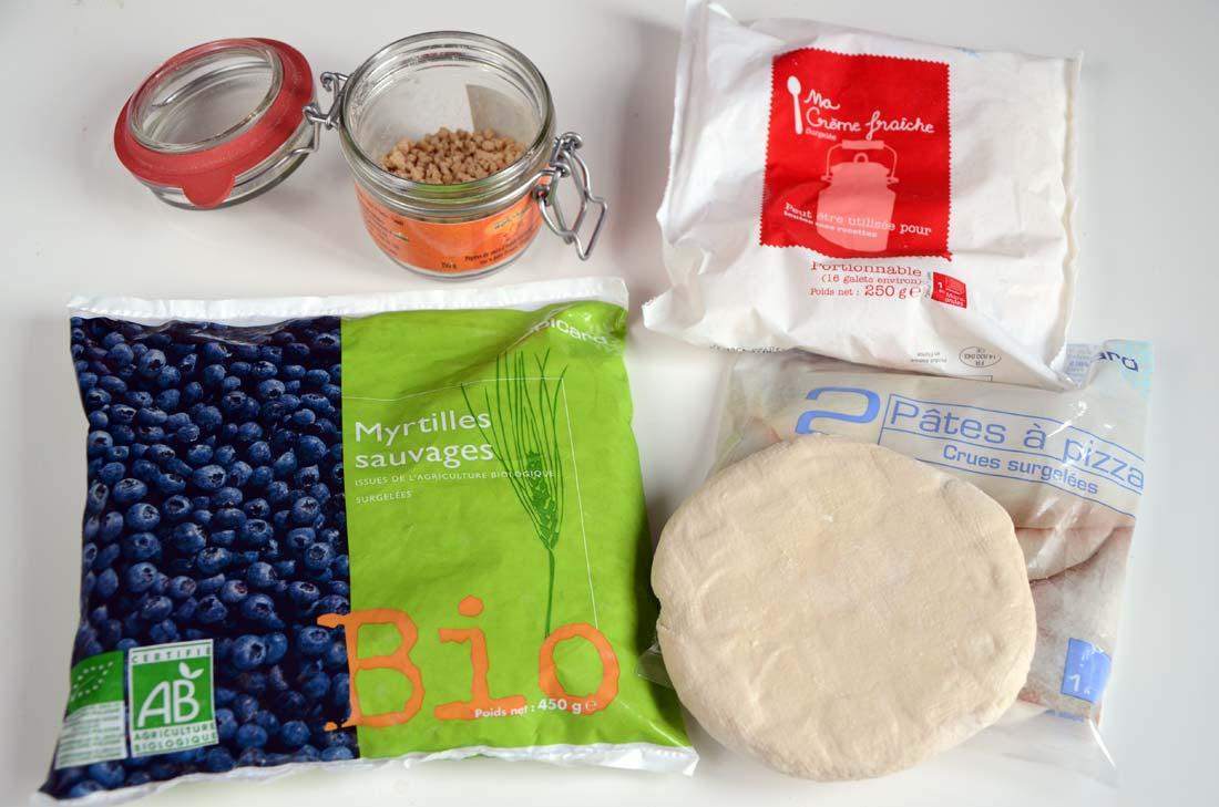 ingrédients tarte au sucre et myrtilles Picard