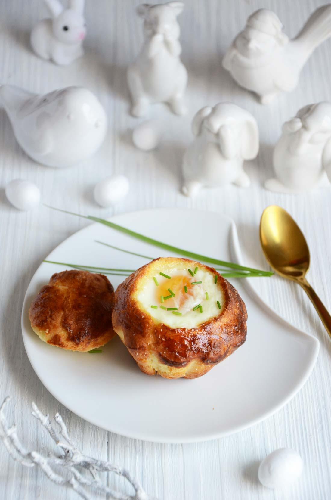 Brioches foie gras oeuf cocotte